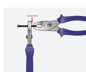 Proper pliers position when breaking a breakaway screw
