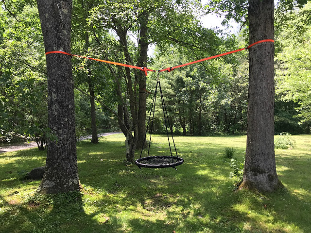 how to hang swing between two trees - pinterest